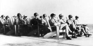 VIP observers on Parry Island, watching an 81 kiloton test as part of Operation Greenhouse, on Enewetak Atoll, April 8, 1951. Credit: Brookings Institution/Defense Special Weapons Agency